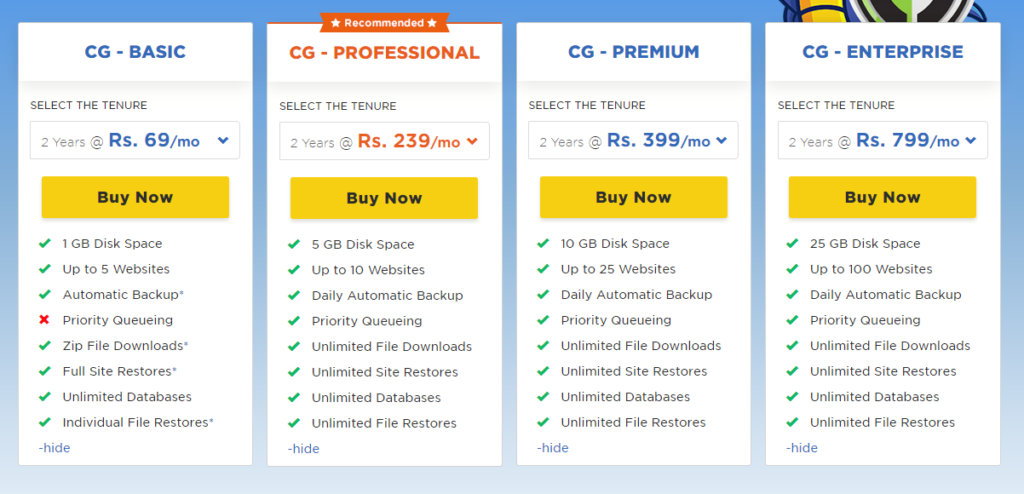 HostGator CodeGuard Plans with their features and pricing