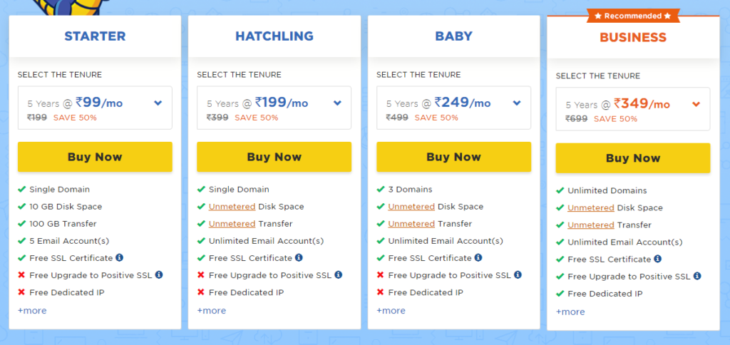 HostGator Linux shared Hosting Plans with features and price